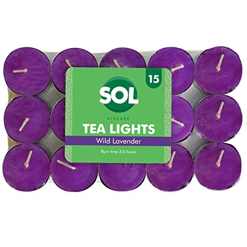 Scented Tea Light Candles 15 Pack | Variety of Fragrances (Wild Lavender)