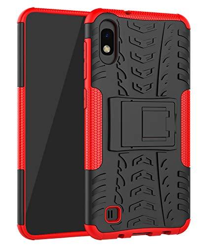 Yiakeng Funda Samsung Galaxy A10 Carcasa, Doble Capa Silicona a Prueba de Choques Soltar Protector con Kickstand Case para Samsung Galaxy A10 (Rojo)