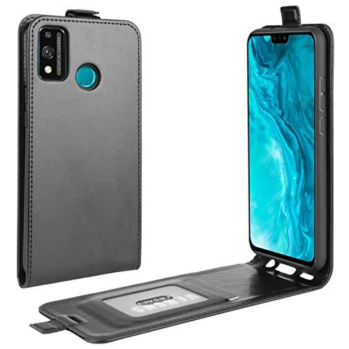 HualuBro Honor 9X Lite Hülle, Premium PU Leder Brieftasche Schutzhülle HandyHülle [Magnetic Closure] Handytasche Flip Hülle Cover für Huawei Honor 9X Lite Tasche (Schwarz)