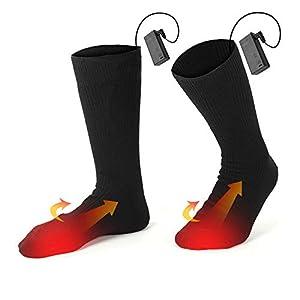 充電式電動ソックス、1ペアの寒い天候の暖かい靴下、長期の冷たい足の暖かい足のウォーマーに適しています。狩猟、ハイキング、チョッピング、スノーボール、乗馬に最適