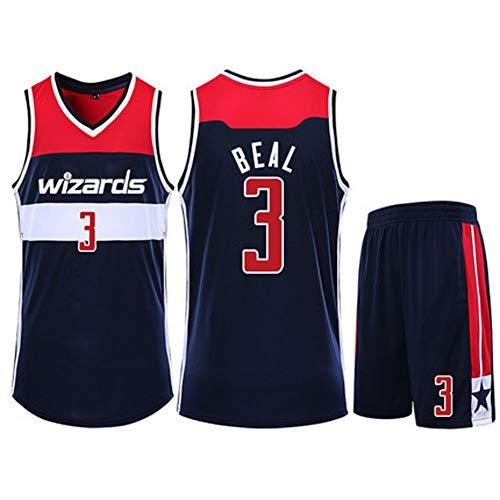 Basketballuniform für Männer Bradley Beal 3# Washington Wizards Jersey Professionelle Anzüge Sport Training Team Übung T-Shirt Ärmellose Shorts Polyester Weiß Königsblau 4XS-5XL-Royalblue-S