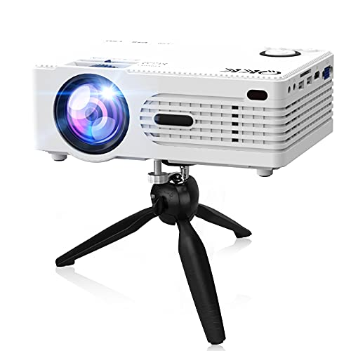 """Q K K. 2021 Upgraded 6500Lumens Mini Projector, Full HD 1080P & 200"""" Display Supported, Portable Movie Projector Compatible with Phone, TV Stick, PS4, HDMI, AV, Dual USB [Tripod Included]"""