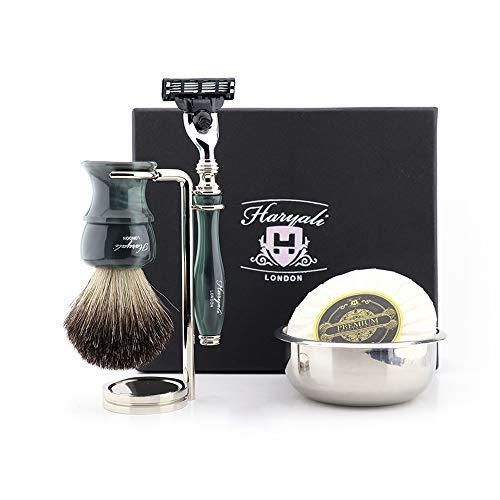 Haryali London - Kit de afeitado para hombre con 3 bordes con maquinilla de afeitar de tejón negro, cepillo de cerdas de pelo de tejón, soporte, jabón y cuenco