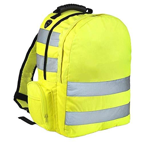 MyShoeStore Hi Vis Viz Backpack Work Rucksack High Visibility Safety Lightweight Reflective Stripe Strap Cycling Hiking Walking Sports Gym School College Bags Back Pack