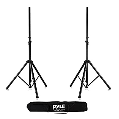 Pyle Universal Dual PA DJ Tripod 2 Speaker Stand Kit with Adjustable Height & Storage Bag Constructed with Heavy Duty Durable Steel and Lightweight for Easy Mobility Safety PIN Screw Locks PSTK107 by SOUFV - pallet ordering