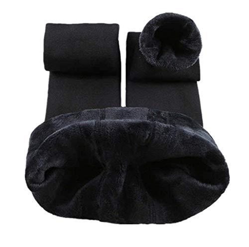 Tamskyt Legging d'hiver chaud en tricot polaire pour femme - Noir - Taille Unique