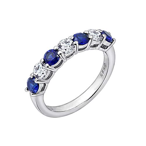 J'ADMIRE 1.5 ct Swarovski Zirconia 7-Stone Round-Cut and Created Ruby or Sapphire Ring, Platinum-Clad Sterling Silver (Blue, 6)