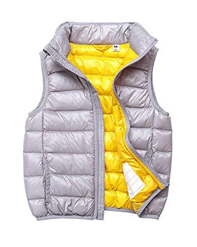 Chaleco Infantil Niño Niñas Duck Down Chaqueta Sin Manga Invierno Vest Plegable Chaquetas de Plumón Gris 130