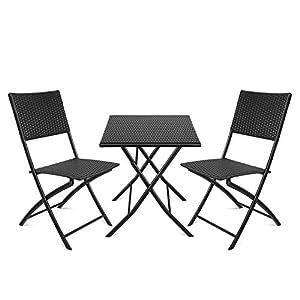 amzdeal Conjuntos de Muebles de Jardín/Balcón/Terraza Material Ratán Tejido 2 Sillas Una Mesa Plegable Negro