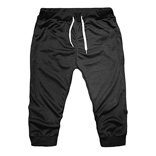 OSYARD Herren Kurzehose Sporthose, Elastische Jogginghose FitnessTraining Sport Shorts Männer Sweatpants 3/4 Kurze Hosen Lässige Caprihose