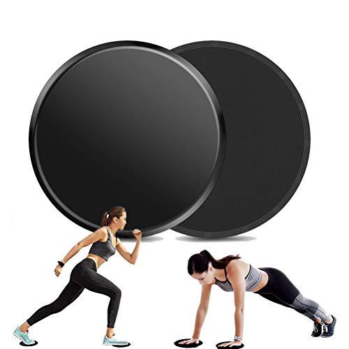 AISOO Sliders Fitness Ejercicio, 2 Piezas Discos Deslizantes de Doble Cara Core Sliders Dual Sided Trainer Uso en Todas Las Superficies,Ligero y Resistente Fuerza Abdominal y Central-Negro