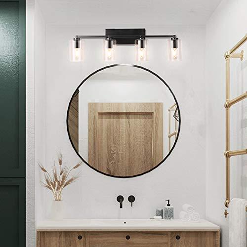 YIINO 4 Lights Bathroom Vanity Light Over Mirror with Glass Shade,Industrial Wall Sconces Lighting for Bedroom Stairs Hallway Kitchen Vanity Mirror
