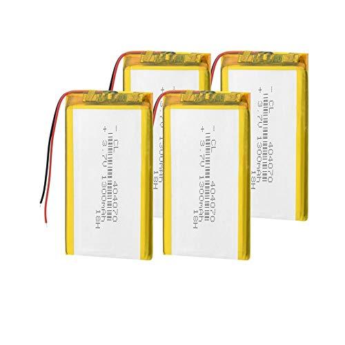 Dilezhiwanjuwu 3.7V 1300mAh 4pcs Lithium Battery 404070 Rechargeable Li-polymer Lipo Battery Replace For Laptop IPad GPS Tablet PSP