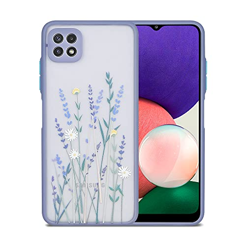 Ownest Kompatibel mit Samsung Galaxy A22 5G Hülle für Blumen Transparent Mode Muster Matt PC Back 3D & Weiche TPU Schutzhülle Silikon für Samsung A22 5G-Blume
