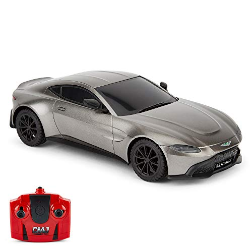CMJ RC Cars Coche de Control Remoto con Licencia Oficial Aston Martin Vantage de 1:24 Escala (Verde)
