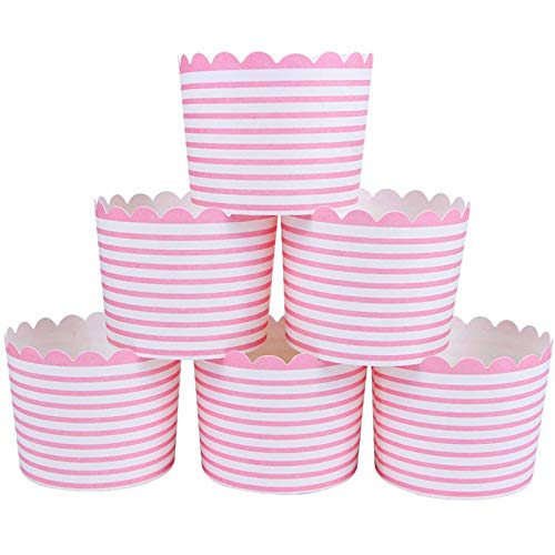 Webake Full Size Paper Baking Cups Pink Cupcake Liners for Cupcake Bath Bomb, Muffin Case, Great for Valentine's Day Cupcake Baking Decoration Set of 25 (Pink Stripe)