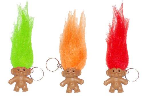 Henbrandt 3 Lucky Troll Keyrings Charm Party Bag Filler Novelty Good Luck Pencil Topper
