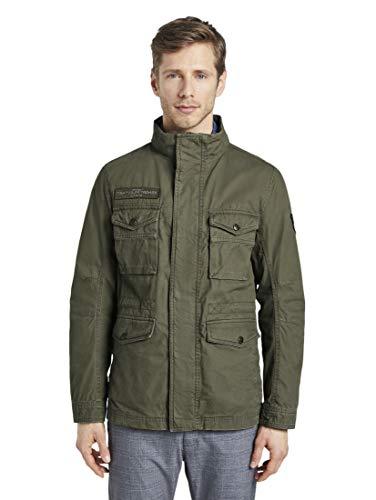 TOM TAILOR Herren Jacken Jacke mit hohem Kragen Olive Night Green,M,13050,7000