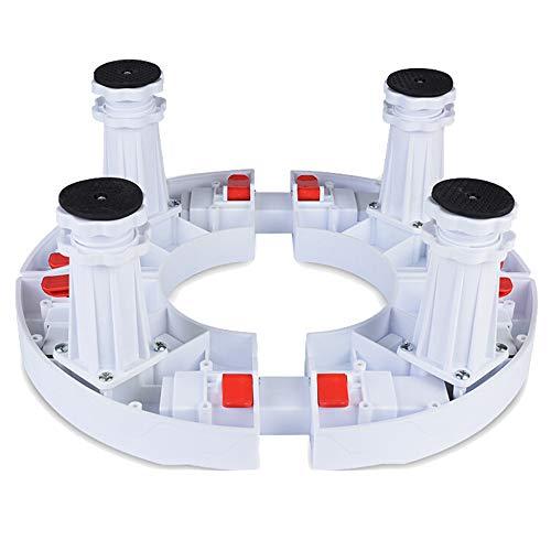 Waschmaschine Roller Trolley, Klimaanlage Erhöhte Halterung Round Home Appliance Einstellbare Base Weinregal,White(15-18cm)-4*(Fixed-Foot)