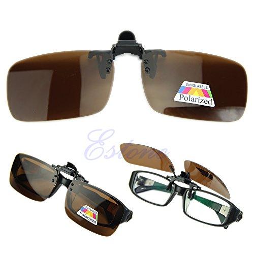 Lamdoo Gafas de conducción polarizadas día Noche visión Clip-on Flip-up Lente Gafas de Sol, marrón, Medium