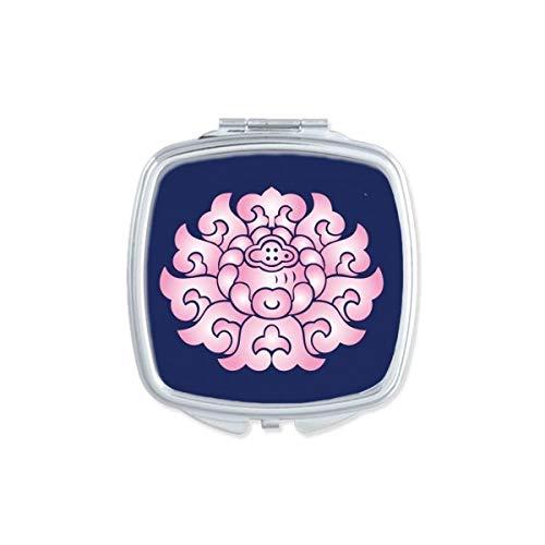 DIYthinker Fleur de Lotus Fleur Plante carré Rose Miroir de Maquillage Compact Portable Mignon Cadeau Miroirs de Poche à la Main Multicolore