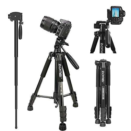 """Zomei Q222 58"""" Camera Tripod Portable Travel Lightweight Aluminum Monopod with Universal Phone Mount and Carry Bag for DSLR SLR Cameras Compatible with iPhone & Android Phone"""