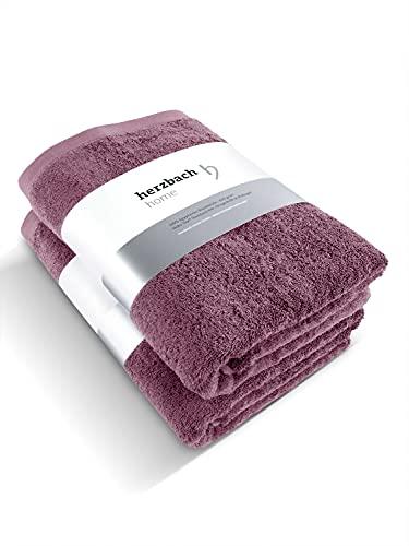 herzbach home Juego de 2 toallas de ducha de 70 x 140 cm de algodón egipcio (malve)
