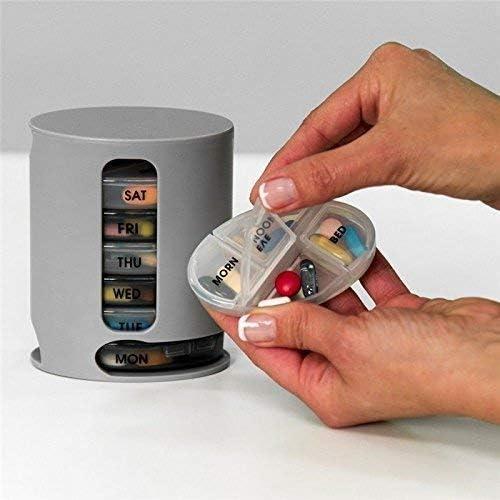 QSHIXLE Pill Organizer 7 Portable Tray Pill Box with 4 Compartments Organize Medicine and Vitamins for Each day Storage Box