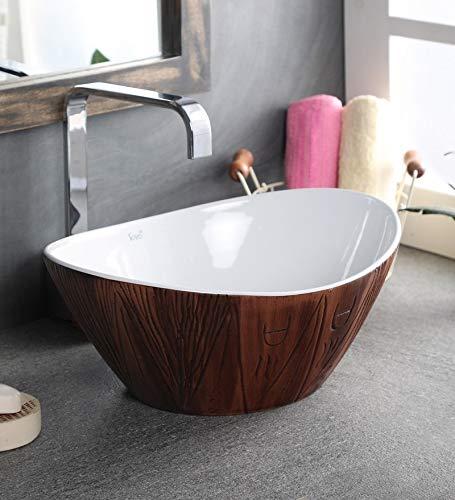 Zoyo Cera Joyo Cera Oval Shape Designer Ceramic Wash Basin /(16x13 Inch) / Brown/White/Vessel Sink/Over or Above Counter Top Wash Basin for Bathroom Oval Shape/Finish for Bathroom & Living Room