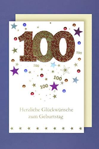 100 Geburtstag Karte Grußkarte Glückwünsche Applikation 16x11cm