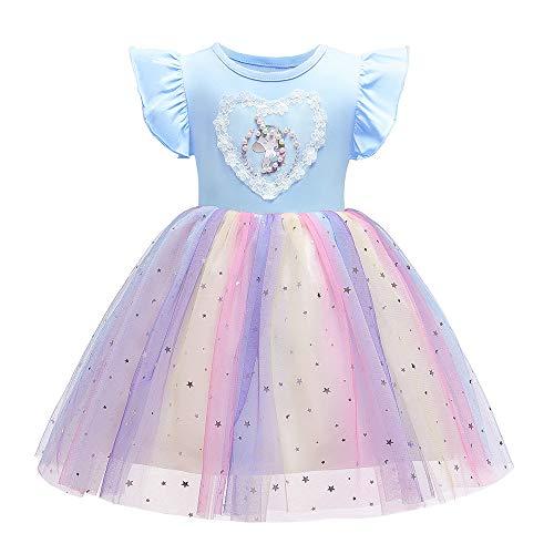 Cichic Mädchen Kleider Prinzessin Blumen Kinder Kleider Kurzarm Blau 3-4 Jahre