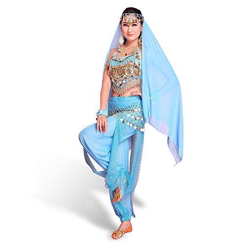 SymbolLife Belly Indian Dance Costumes, Bauchtanz kostüm Damen indischen Tanzkleidung Tanzkostüme Karneval Kostüme Darbietungen Kleidung Das Obere + Pluderhosen + Gürtel+ Kopf Kette Hell Blau