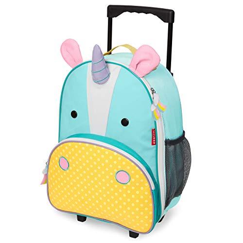 Skip Hop Zoo Luggage - Maleta con ruedas para niños, con etiqueta de nombre, Multicolor (Unicorn Eureka)