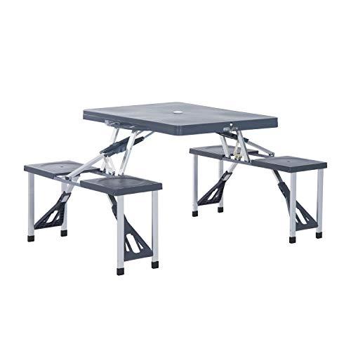 Outsunny Alu Campingtisch Picknick Bank Sitzgruppe Gartentisch mit 4 Sitzen klappbar Schwarz