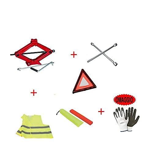 Compatible con Piaggio Kit de gato hidráulico de emergencia para coche de gato hidráulico + llave de cruz para pernos + triángulo + funda fluorescente + regalo