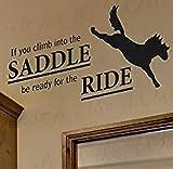 Si vous montez sur la selle, vinyle autocollant mural amovible sticker mural graphique décoration décoration murale prêt pour l'équitation cheval 91x43 cm