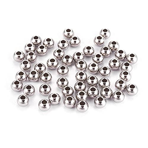 Cheriswelry 500 espaciadores de acero inoxidable 304 de 3 x 2 mm, pequeños granos de Rondelld lisos redondos para joyas, pulseras, manualidades, agujero de 1 mm