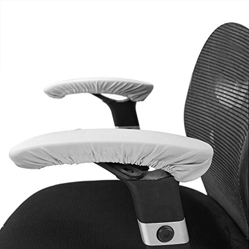 1 Pair Knitted Elastic Fabric Chair Armrest Covers Office Wheelchair Arm Rest Pad Elbows Forearms Pressure Relief slipcover (Gray)