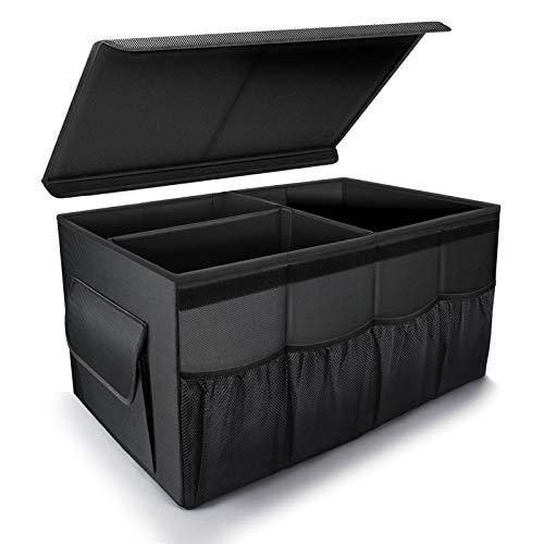 車用収納ボックス 保冷 保温 蓋付き トランク 収納 車載ボックス 大容量 防水耐摩耗1680D 固定ベルト付き トラック/SUV/軽自動車などの大中小型車に適用