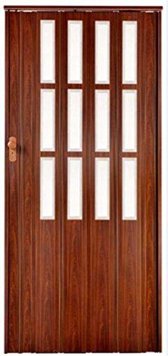 Falttür Schiebetür mahagoni farben mit Schloß und Fenster Höhe 203 cm Einbaubreite bis 85 cm Doppelwandprofil abschließbar