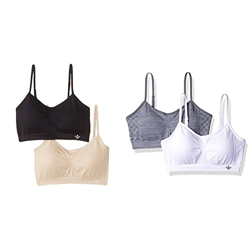 Lily of France womens Seamless Padded Bralette Pack bras, 4 Pack - Black/Nude/Grey/White, XX-Large US