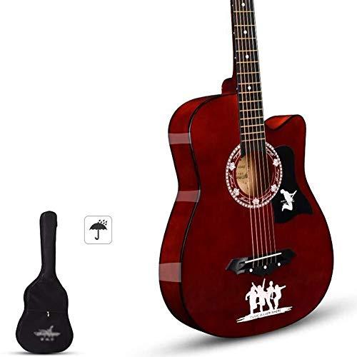 Akoestische gitaar Akoestische gitaar handgemaakte Beginner's kit met waterdichte behuizing, Strap Tone Resonance glanzend houten gitaar, 8 kleuren Full size stalen snarige akoestische gitaar