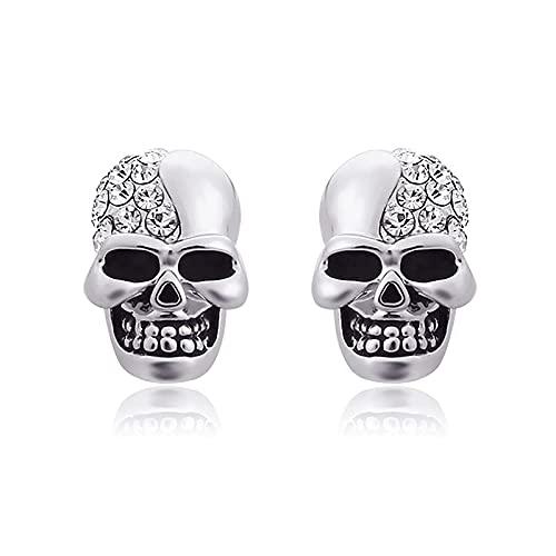 KINGVON KINGVON Pendientes de cabeza de calavera brillantes retro Moda Diamante de imitación completo Hip Hop Pendientes de botón de Halloween Regalo de joyería para Halloween, Plata