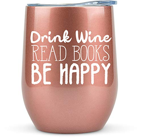 Book Lovers Gifts Women - 12 oz Wine Tumbler or Mug - Idea for Book Club, Librarians, Bulk Readers, Literary, Glass, Bookworm, Reading