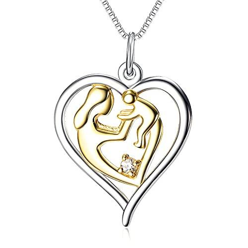 Kärlek hjärta mor och barn kramar s925 sterling silver hänge halsband, mors dag/födelsedag gåva kvinnor smycken, 18 tums clavicle chain