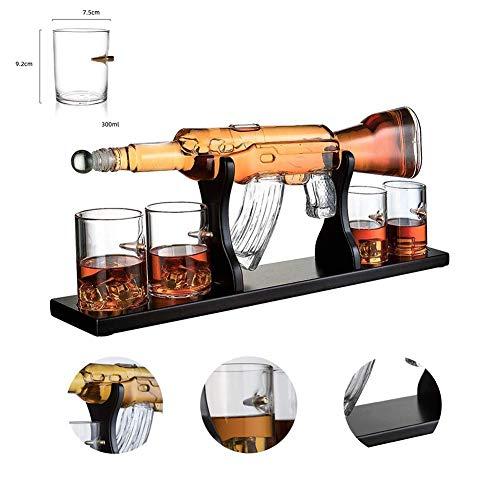 Gun Large Dekanter Set Gläser, Haushalts Weißwein Wasserflasche 1000ml M16 Large Dekanter Set Gläser Holzsockel mit 4 Whisky Gläser für Wodka Rum Feiern Geschenke