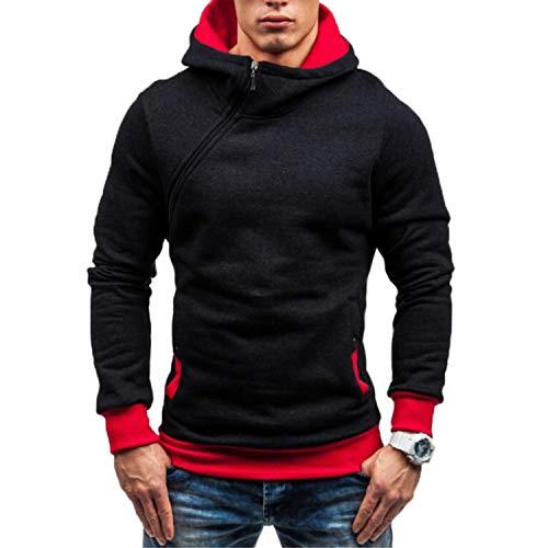 Men Hoodies Sweatshirt Spring Solid Color Fleece Tracksuit Hip Hop Zipper Pullover Male Hooded Sportswear EU Size Black Red XXL