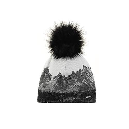 Eisbär Damen Draw Lux Crystal Mütze, White-Schwarz, One Size