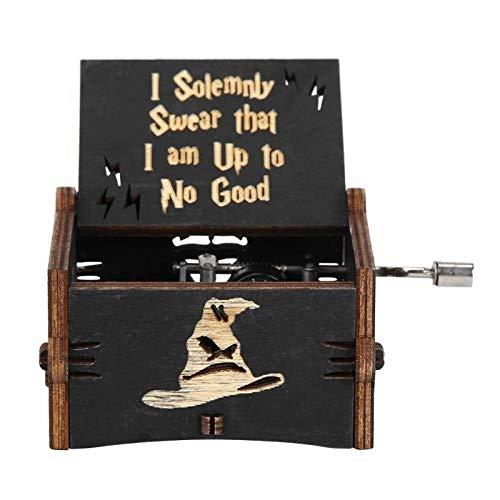 ZRJ Bonita Vintagewooden Mano Caja de música Exquisita Elegante Caja de música Regalo de la decoración del hogar Regalo del niño Adornos (Negro Harry Potte) Moda