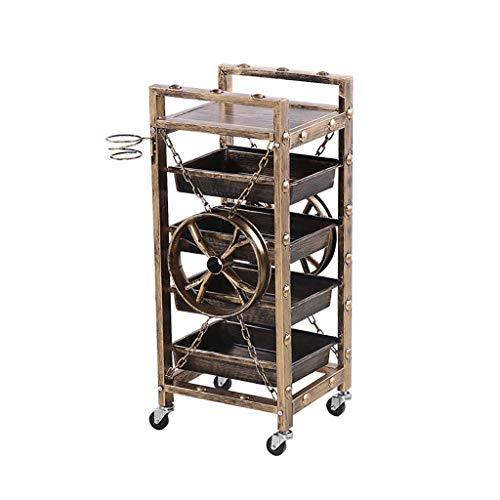N/Z Home Equipment Storage 5 Tier Service Trolley Hair Trolley Storage Shelf Service Storage Trolley (Gold 90 * 33 * 37CM) Kitchen Trolley
